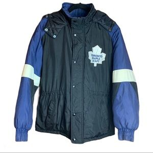 Vintage Toronto Maple Leafs Puffy Parka / Jacket by Chalkline Size Small
